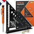 Versie FR gradenboog, metaal aluminium [+ pen + handleiding FR] geleiderail / gereedschap voor timmerman/regel, gradenmeter,