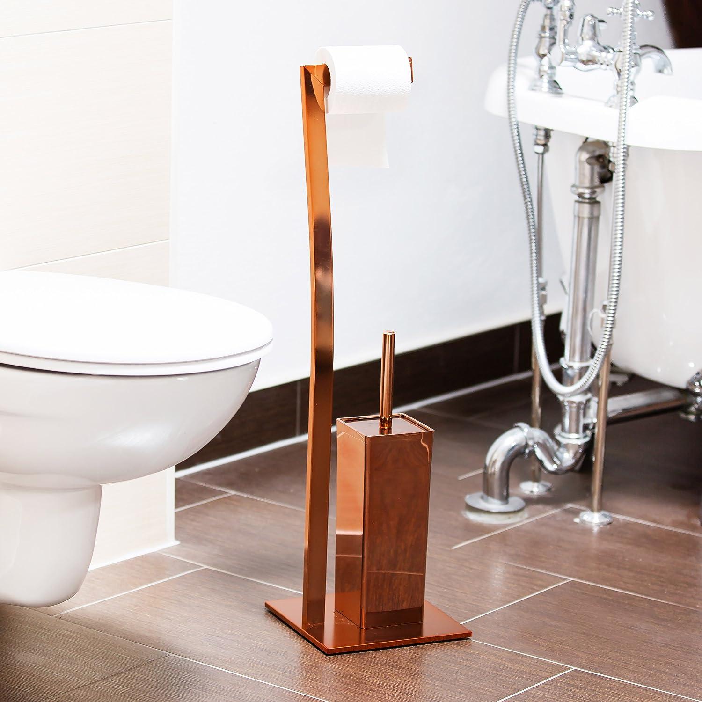 Relaxdays 10020410_553 Set per WC Porta Rotolo e Porta Scopino ...