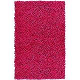 Lashuma Alfombra de baño de chenilla rosa fucsia, 100% algodón, 50 x 80 cm