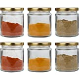 Pure Source India Glass jar Container Set of 6, Coming with Metal Golden Color Air Tight and Rust Proof Cap, Capacity 50…