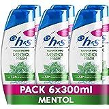 H&S Menthol Fresh Todo En Uno Champú Anticaspa y Acondicionador, 6 x 300 ml