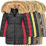 Marikoo Knuddelmaus Damen Winter Mantel Jacke Steppjacke Winterjacke Wintermantel warm gefüttert 2in1 Kunstfell XS-XXL