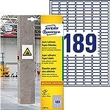 AVERY Zweckform Protection & Security etiketten 25,4x10mm papier, extra sterk hechtend. 20 Blatt wit