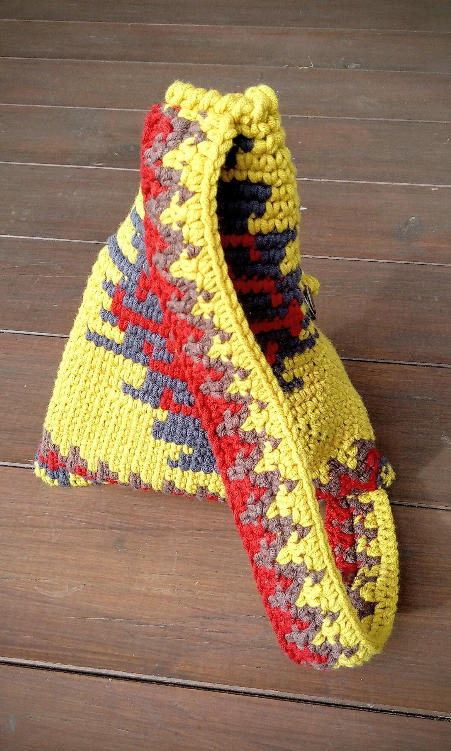 Crochet backpack with one handle. Wayuu style. Yellow. - handmade-bags