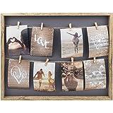 Gallery Solutions - Marco de fotos para collage con línea colgante y pinzas, para 8 fotos de 10 x 15 cm, color natural