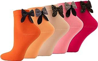 Molton Marley - 5 paia di calzini corti con fiocco, in cotone fine, per ragazze e donne, prodotti in Europa