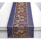 Stylo Culture Centre de Table Traditionnel pour Table Basse Brocart Bleu foncé Jacquard & Satin Éléphant de Bohême Floral Déc