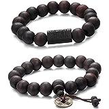 Jstyle 2-3 PCS 11MM Bracciale Buddha Tibetani Braccialetto Perline Elastico da Uomo Donna
