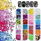 Kalolary 2 Dozen Hol hart Nail Art Pailletten, Holografische Glitter nagel pailletten voor Valentijnsdag Nagelkunstdecoratie
