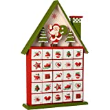 WeRChristmas Wooden House Advent Calendar Christmas Decoration, 37 cm - Multi-Colour