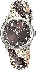 Timex Women's TWH2Z8510 Black/White Python Patterned Leather Strap Watch