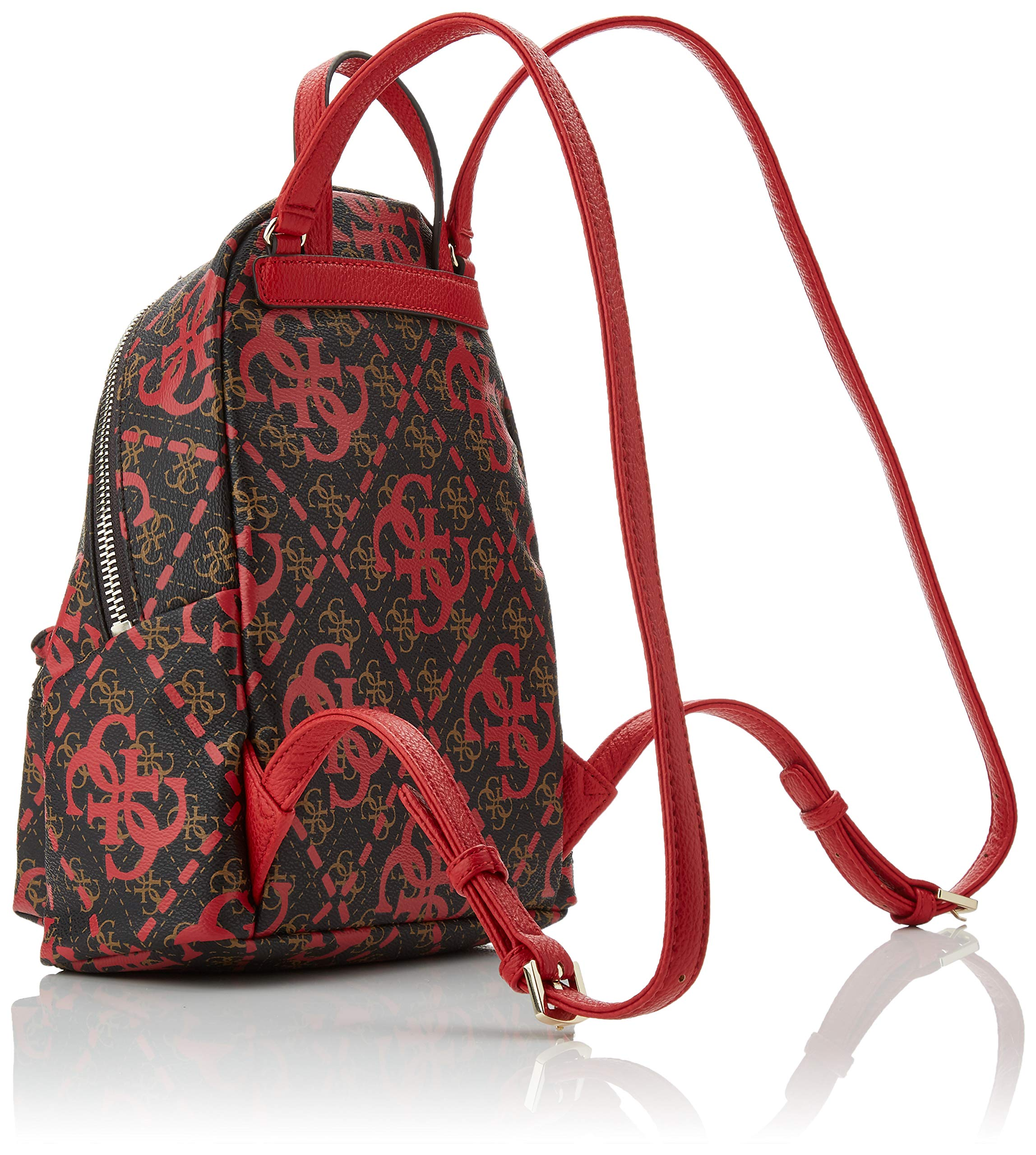 91K7S0JjfdL - Guess - Leeza Backpack, Mujer, Multicolor (Red Multi), 22x29x10.5 cm (W x H L)