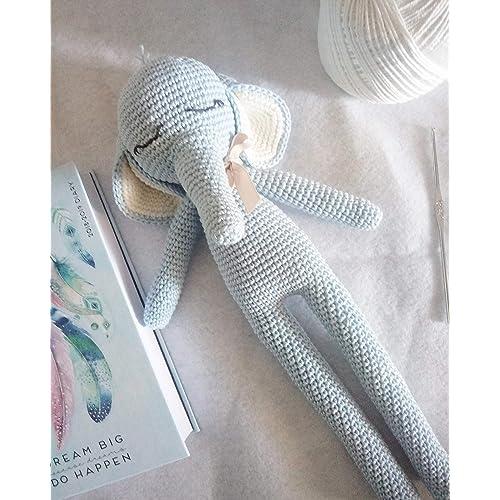 Ninny_Elefantino amigurumi azzurro e bianco. Elefante all'uncinetto regalo per bambini e adulti. idea regalo. pupazzo. elefante peluche fatto a mano.