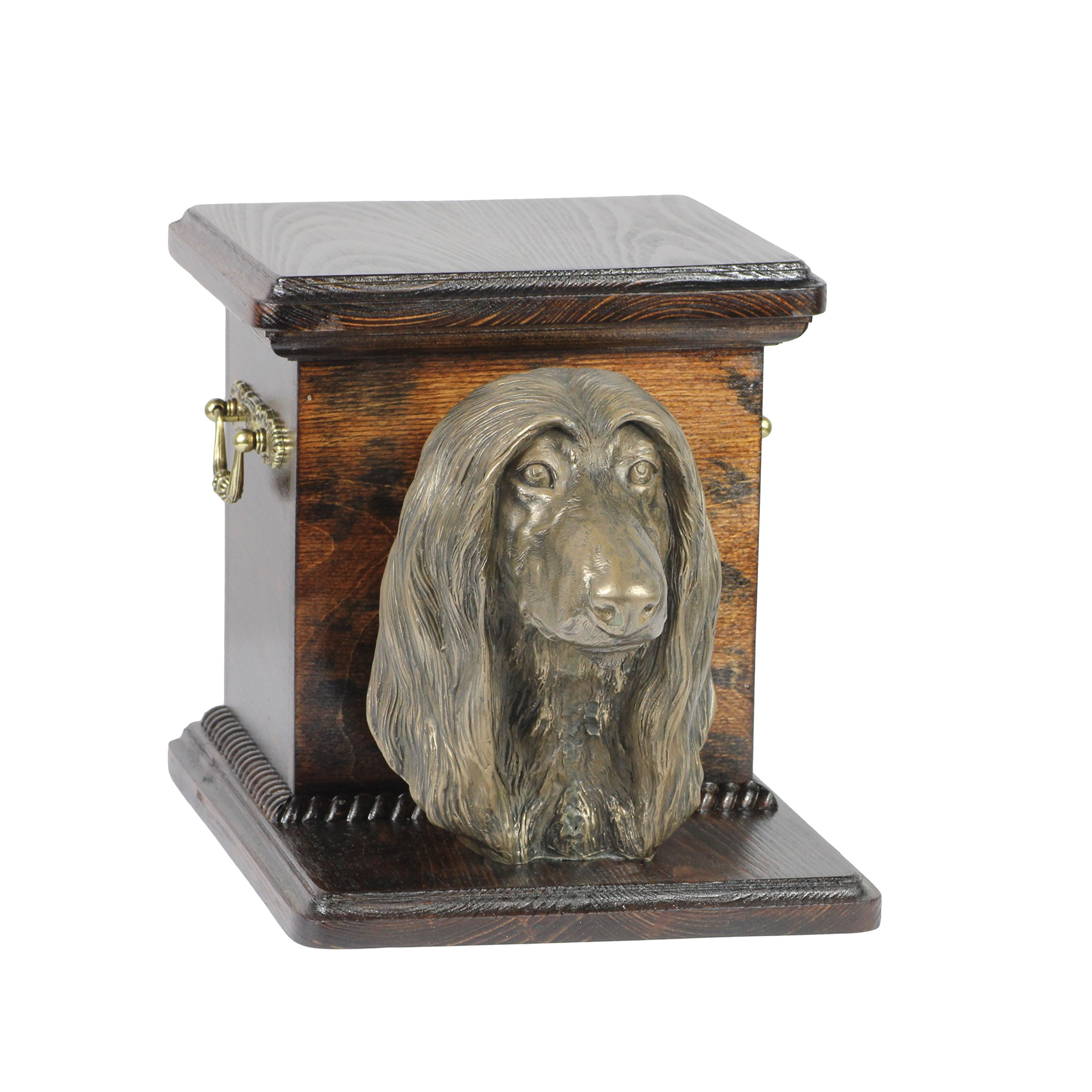 Afghan Hound, memorial, urn for dog's ashes, with dog statue, ArtDog