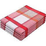 ZOLLNER Set de 4 torchons, Coton, 50x70 cm, 220g/m², Rouge