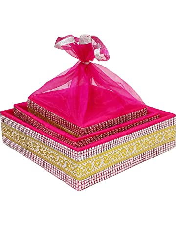 b17552d47fd line n curves Satin Decorative Baby Shower Item Room Trousseau Gift Basket  Hamper, Standard,