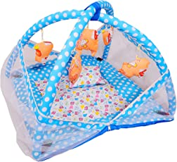 Deals Outlet Baby Kick and Play Gym with Mosquito Net and Baby Bedding Set (Blue)