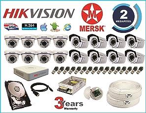MERSK Hikvision 16 Ch Turbo HD DVR and Mersk Full HD(2MP) CCTV Camera Kit(White)