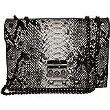Badgley Mischka Umhängetasche aus veganem Leder mit Schlangenaufdruck, Grau / Schwarz
