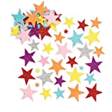 Baker Ross Pegatinas de Estrellas de Espuma con Purpurina (Paquete de 150) Para decorar tarjetas, collages y manualidades inf
