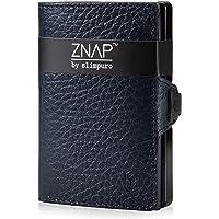 ZNAP Portafoglio Porta Carte di Credito - Protezione RFID - Blu scuro bottalato - Fino a 4-8 carte - Portafoglio Uomo…