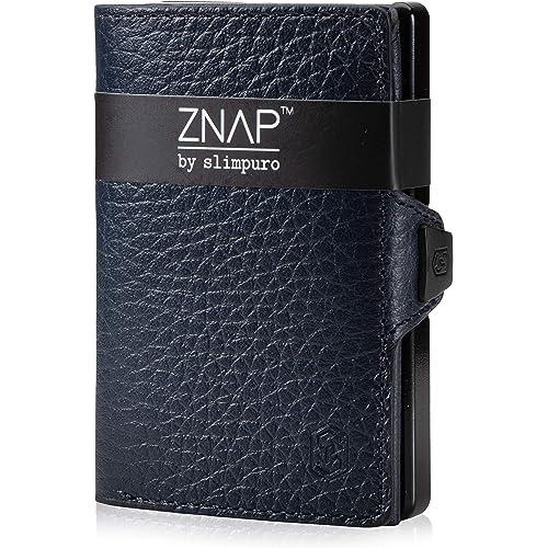 ZNAP Portafoglio Porta Carte di Credito - Protezione RFID - Blu scuro bottalato - Fino a 4-8 carte - Portafoglio Uomo Slim, Portacarte Uomo, Portacarte di Credito da Uomo - Clip di SLIMPURO