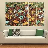 Kyara arts Multiple Frames, Beautiful Kerala Mural Art Wall Painting for Living Room, Bedroom, Office, Hotels, Drawing…