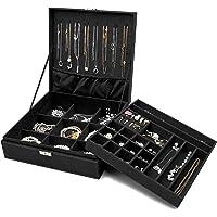 ProCase Boîte à Bijoux Coffret à Bijoux pour Femmes, 2 Niveaux, Coffrets/Boîte à Maquillage pour Boucles d'oreilles…