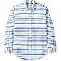 Amazon Essentials - Regular-fit Long-sleeve Stripe Oxford Shirt, Camicia che si abbottona Uomo