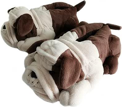 Pantofole da uomo e donna, per bambini, con animali pelosi e invernali, bulldogs
