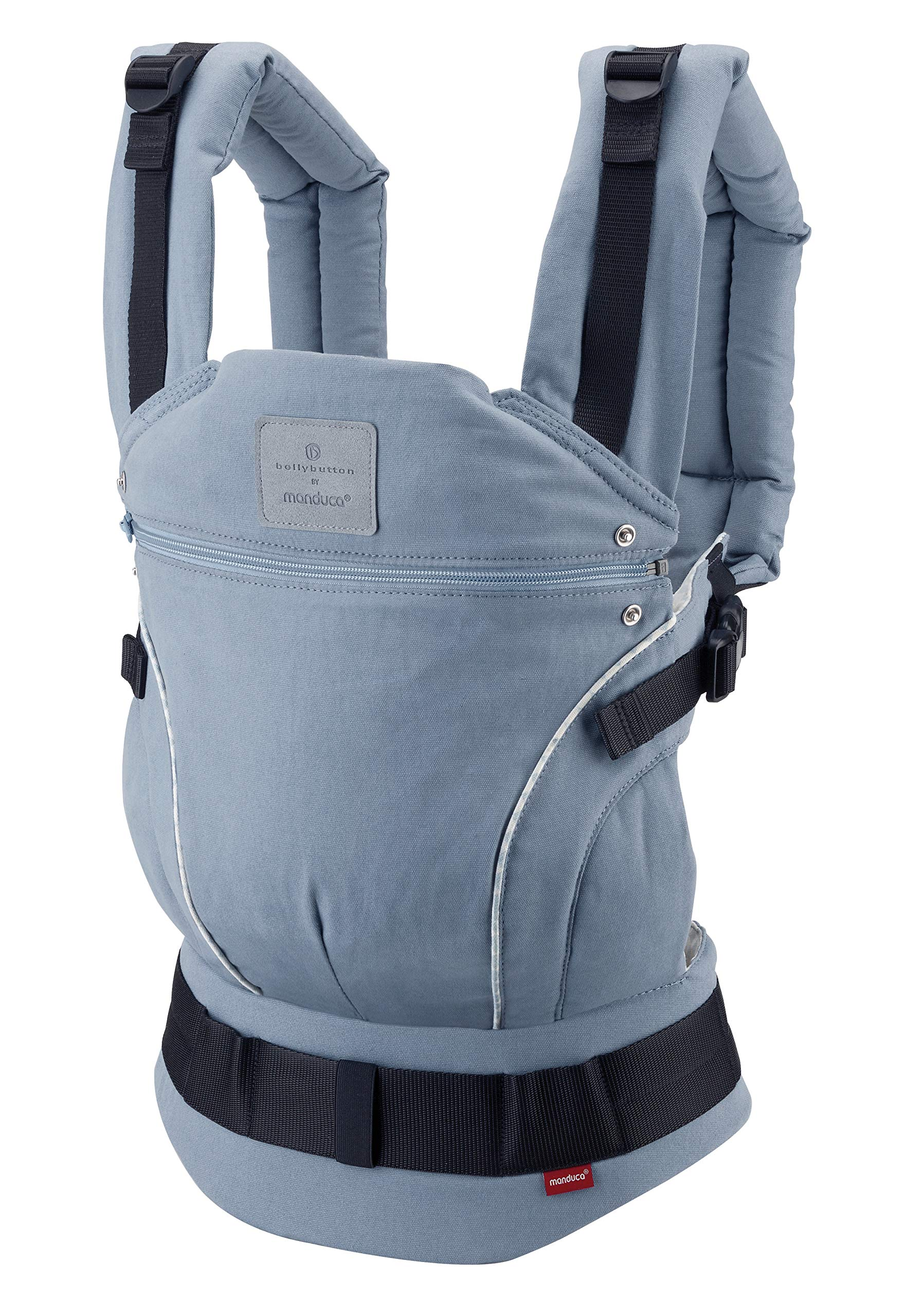 manduca First Baby Carrier > Bellybutton by manduca Edition, SoftCheck Blue < Child Carrier with Ergonomic Waist Belt & Patented Back Extension, Newborn to Toddler Manduca Trendy design in typical Bellybutton look, fine checked pattern on elegant grey, premium baby carrier made from 100% soft organic cotton with optimised finish, does not attract lint. Already integrated: seat reducer, stowable head and neck support, patented back extension, recommended accessories for newborns: Size-It (bridge reducer) and ZipIn ellipse. Ergonomic design for parents: anatomically shaped, dimensionally stable hip belt (up to 140 cm), 3-way adjustable soft padded shoulder straps, relieves the back and distributes the weight. 4