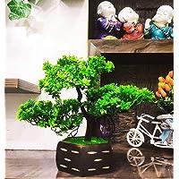 WOODZONE Artificial Bonsai Plants with Wooden Pot (Green)