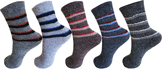 RC. ROYAL CLASS Kids Calf Length Towel Thick Woolen Blend Socks (Pack of 5 Pairs)(age group 1 - 8 years)