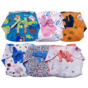 TotzTouch Pure Cotton Padded Cloth Diaper | Nappy Pack of 6 Washable,Reusable,Thick Cushioned with Soft Elastic at Sides(Multi Colored Printed Age - Newborn to 18 Months) (Multi Color, xs)