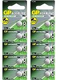 Piles bouton LR44 (A76 / AG13) 10 pcs. Multi-pack, produits de marque GP [1.5V - Sans mercure]