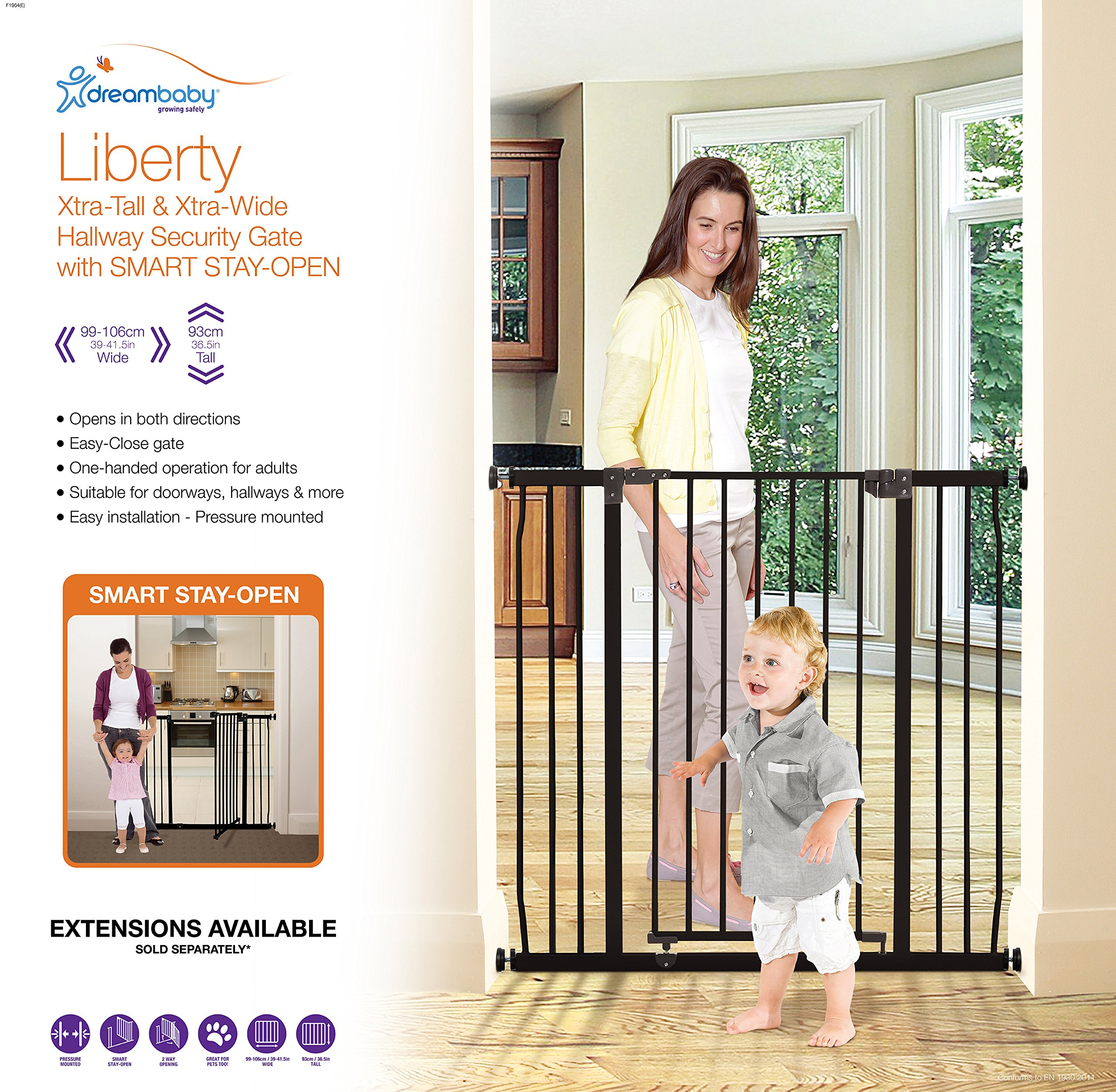 Dreambaby Liberty Xtra-Tall & Wide Safety Gate (Fits 99cm-106cm) Black Dreambaby MEASURE YOUR OPENING BEFORE PURCHASING - This gate ONLY fits openings 99 to 106 cm. It will not fit any opening smaller than 99 cm. If your opening is larger than 106 cm you will require an additional purchase of an extension. VERSATILE AND DEPENDABLE- Our Dreambaby Liberty gate is loaded with features to not only help make your life easier but safer too. Versatile indeed, it can accommodate openings of 99 to 106 cm wide and is 93 cm tall. Using optional extensions sold separately, the gate can be extended up to 306 cm. ONE HANDED OPERATION - The One-Handed operation is fantastic for times when you're holding your child and the double locking feature ensures extra security to help keep your child safer. 7