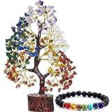 Reikved Seven Chakra Crystal Gemstone Bonsai Money Tree Golden Wire 300 Beads with Chakra Bracelet Figurine Home Decoration S