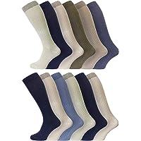 Mens 100% Soft Cotton Extra Long Knee High Socks 6-11 Uk, 39-45 Black/White/B/N/G/Assorted