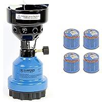 Campingkocher und Shisha- Kohleanzünder Anzünder 2in1 Metall Gaskocher Shishakocher aus Metall in Blau + 4 Gas