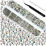 Jovitec 2000 Stück Hot Fix Glas Flache Rückseite Strasssteine HotFix Runde Kristall Edelsteine 1,5-6 mm (SS4-SS30) in Aufbewahrungsbox mit Pinzette und Pflücken Strass Pen (Kristall AB)