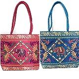 Chircrafts Handicrafts Cotton Embrodery Multicolour Rajasthani Jaipuri Hand Bag for Women & Girls(combo-2)