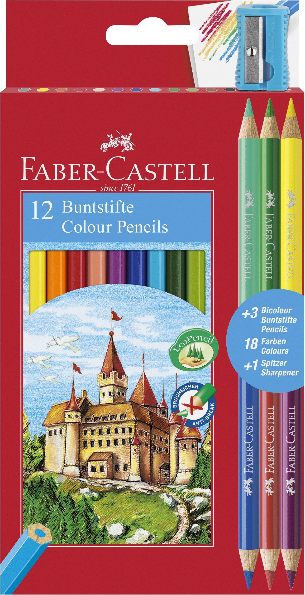 Estuche promoción 12 lápices color  hexagonales + 3 lápices bicolor redondos,  18 colores surtidos