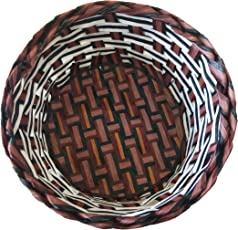 Shubh Wedding Round Shape Traditional Wooden Basket for Anniversary, Birthdays and Wedding Gifts, Dry Fruit Basket, Confectionery Gift Basket, Chocolate Basket, Return Gift - Brown (ShubhW_123)