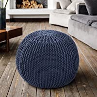 SASHAA WORLD Cotton Knitted Round Pouf with EPS Balls Filling Hand Knitted Cotton Ottoman Pouffe Footrest for Living…