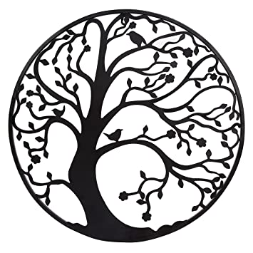 Large 58cm Black Metal Tree Circle Wall Art Sculpture For Garden Or Home:  Amazon.co.uk: Kitchen U0026 Home