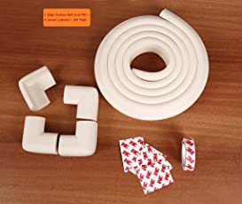 LifeKrafts Thick Rubber Cushions Table Edges Protector with 4 Corner Guard (White, 6.67ft)