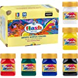 Flash Acrylic Paint Set | 6 Colors | 50 ml, 1.7 fl oz Each | High Pigment Strength | Non Fading | Indoor/Outdoor | Non Toxic