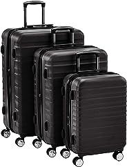 Hochwertiger Hartschalen-Trolley mit eingebautem TSA-Schloss und Laufrollen 3-Teiliges Set (55 cm, 68 cm, 78 cm), Schwarz