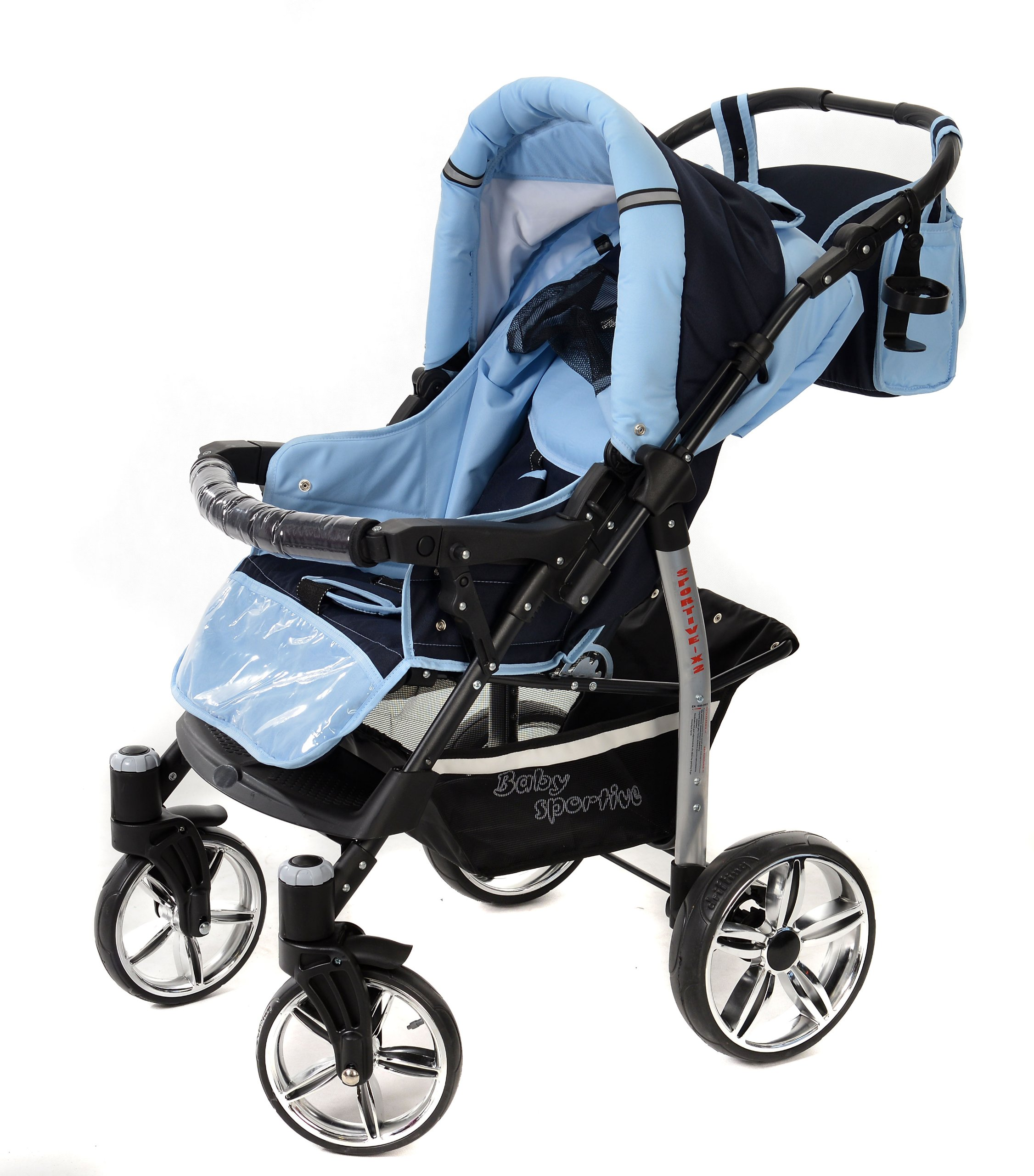 Sportive X2, 3-in-1 Travel System incl. Baby Pram with Swivel Wheels, Car Seat, Pushchair & Accessories (3-in-1 Travel System, Navy-Blue & Blue)  3 in 1 Travel System All in One Set - Pram, Car Carrier Seat and Sport Buggy + Accessories: carrier bag, rain protection, mosquito net, changing mat, removable bottle holder and removable tray for your child's bits and pieces Suitable from birth, Easy Quick Folding System; Large storage basket; Turnable handle bar that allows to face or rear the drive direction; Quick release rear wheels for easy cleaning after muddy walks Front lockable 360o swivel wheels for manoeuvrability , Small sized when folded, fits into many small car trunks, Carry-cot with a removable hood, Reflective elements for better visibility 5