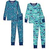 Amazon Essentials Pijama de algodón de Ajuste ceñido Niños, Pack de 4